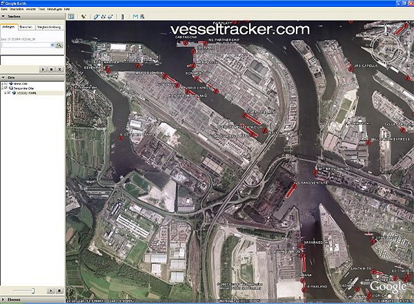 AIS Schiffspositionen live in Google Earth